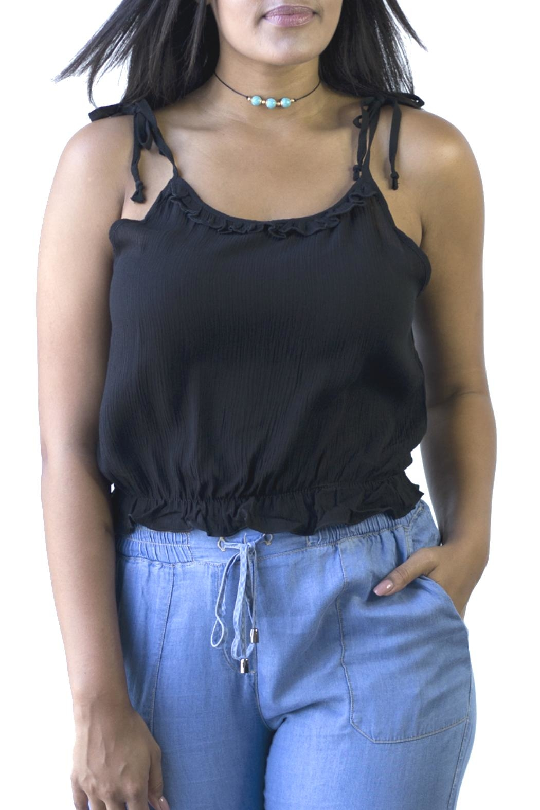 Minx Ruffle Crop Top - Front Cropped Image