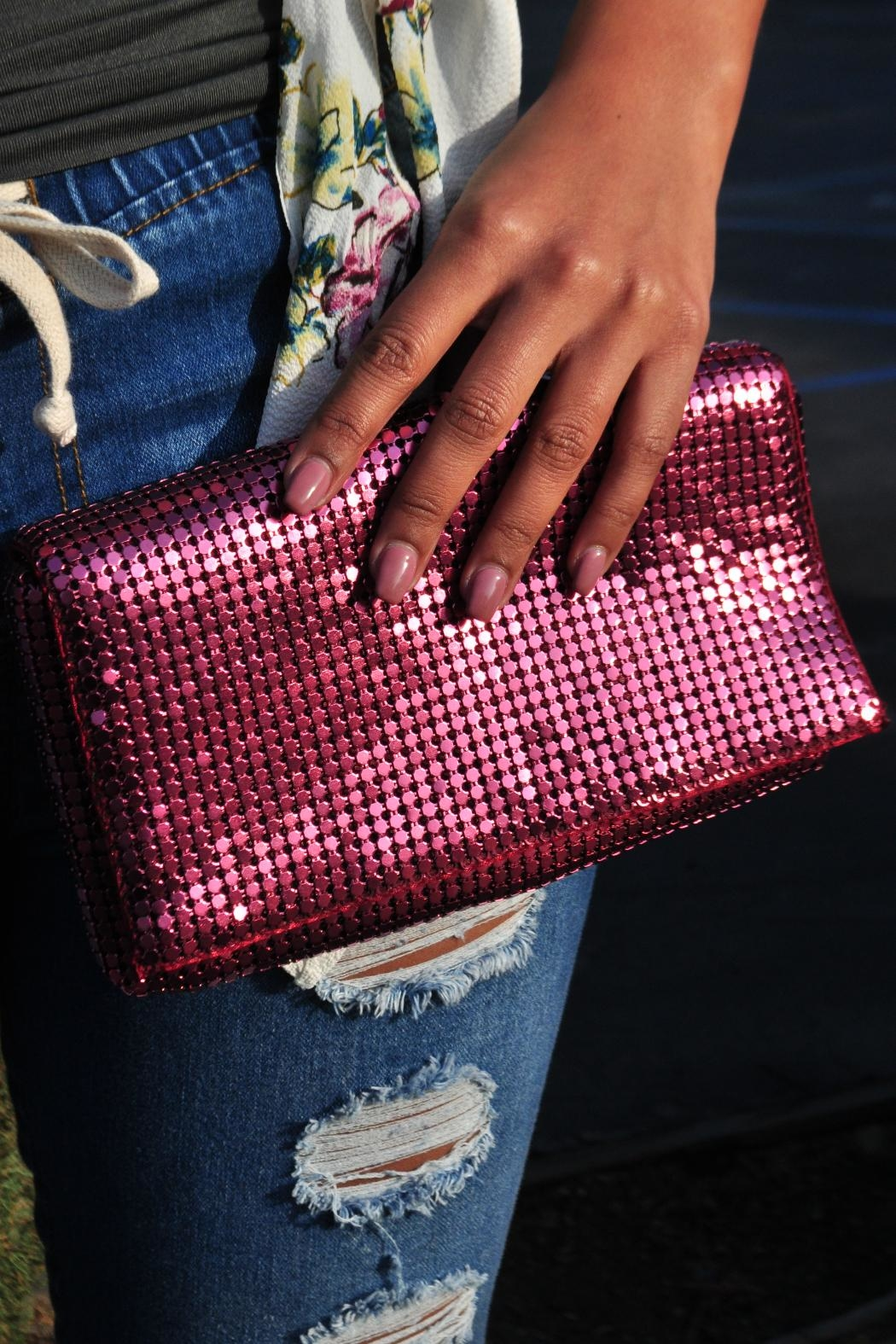 Minx Sequin Sparkle Clutch - Front Cropped Image