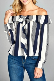 Minx Striped Shoulder Blouse - Product Mini Image