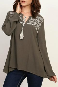 Shoptiques Product: Embroidered Olive Top