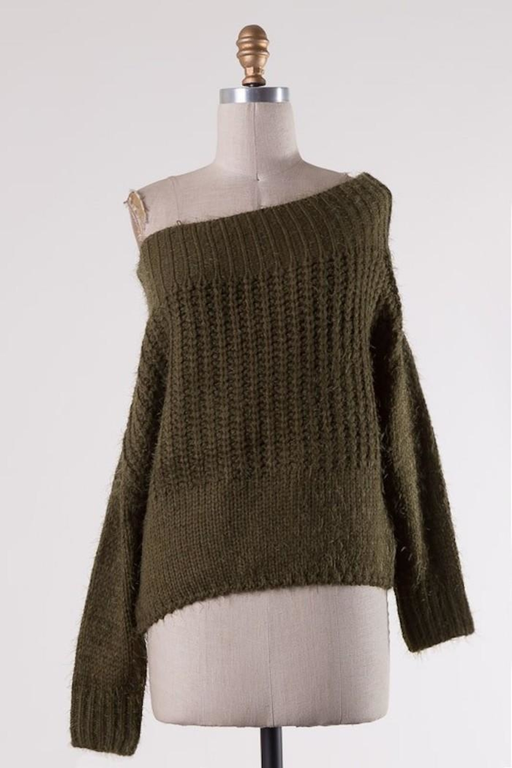 Miracle Fuzzy Olive Off-Shoulder - Front Full Image
