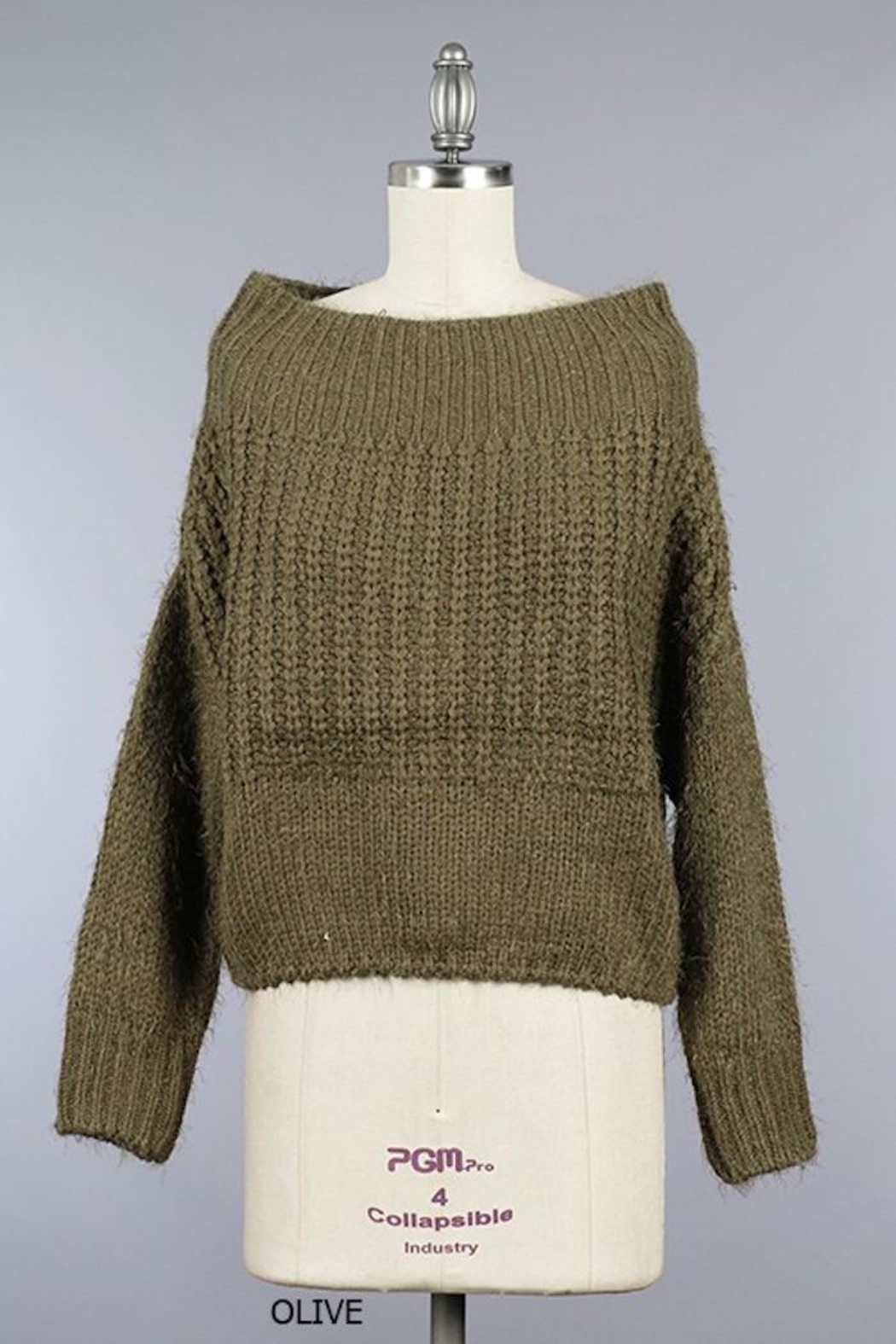 Miracle Fuzzy Olive Off-Shoulder - Main Image