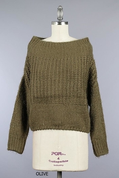 Miracle Fuzzy Olive Off-Shoulder - Product List Image