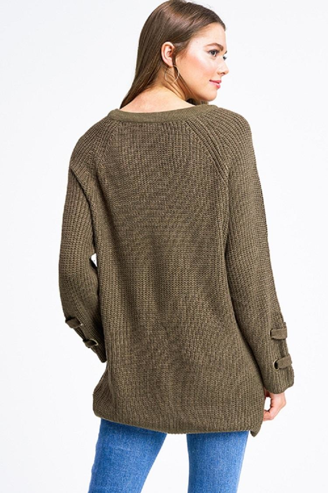 Miracle Laceup Eyelet Sweater - Front Full Image