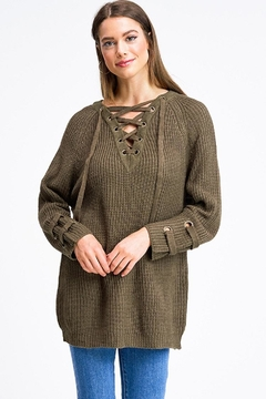 Miracle Laceup Eyelet Sweater - Product List Image
