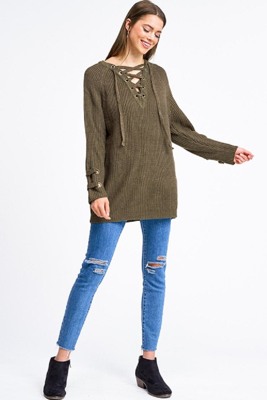 Miracle Laceup Eyelet Sweater - Side Cropped Image
