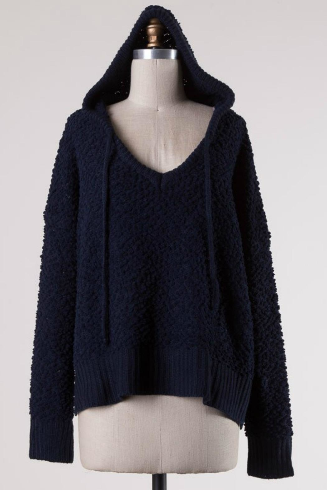 Miracle Navy Popcorn Sweater - Front Cropped Image