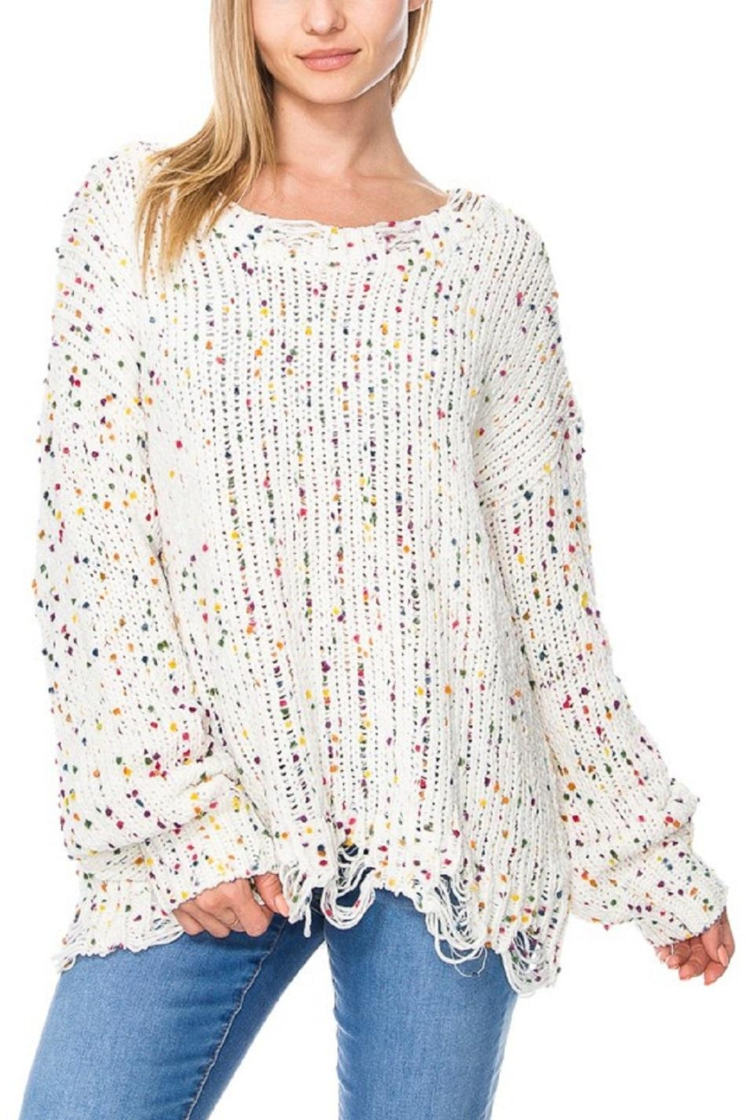 Miracle City Distressed-Hem Confetti  Sweater - Main Image