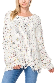 Miracle City Distressed-Hem Confetti  Sweater - Front cropped