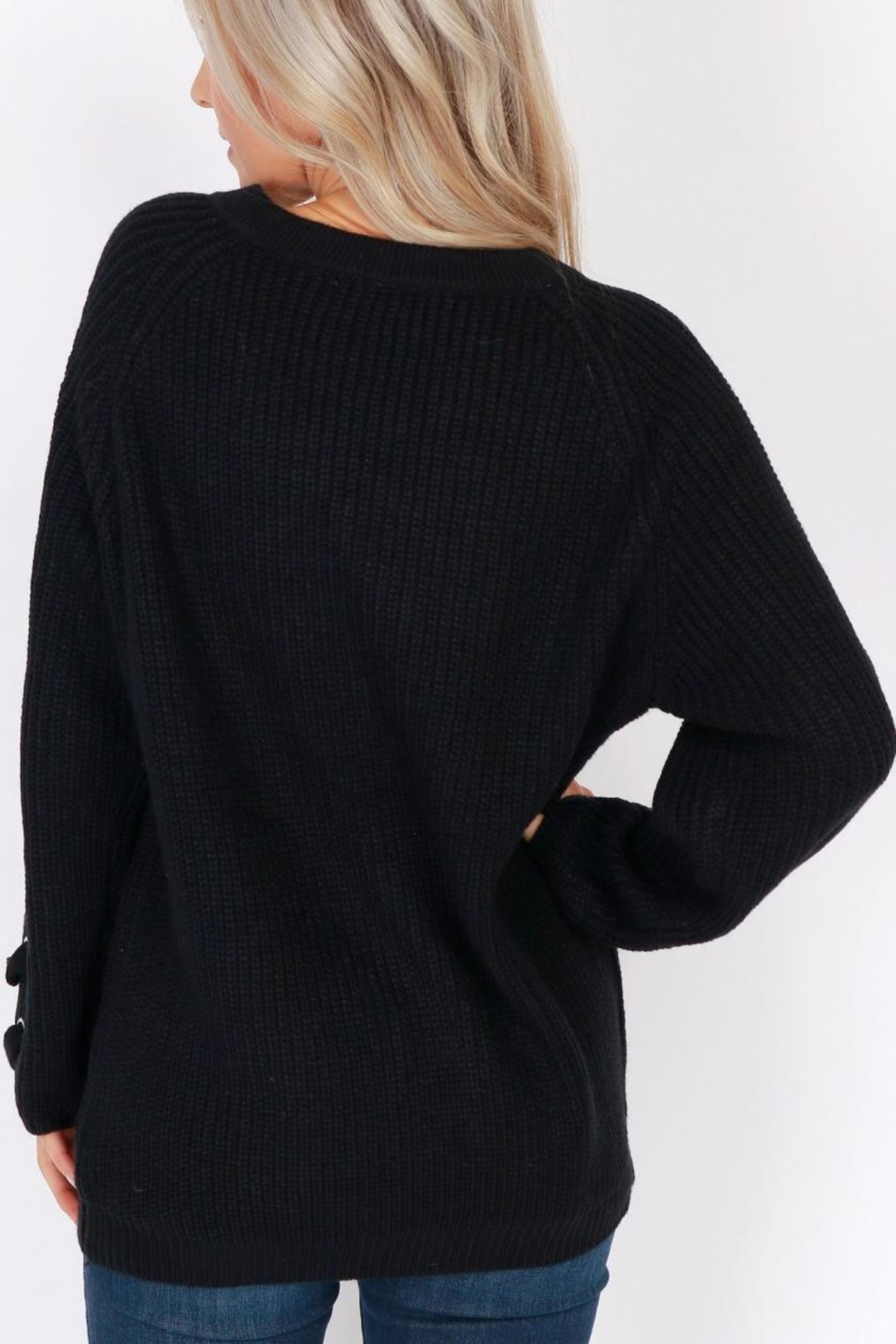 Miracle City Tie Up Sweater - Front Full Image