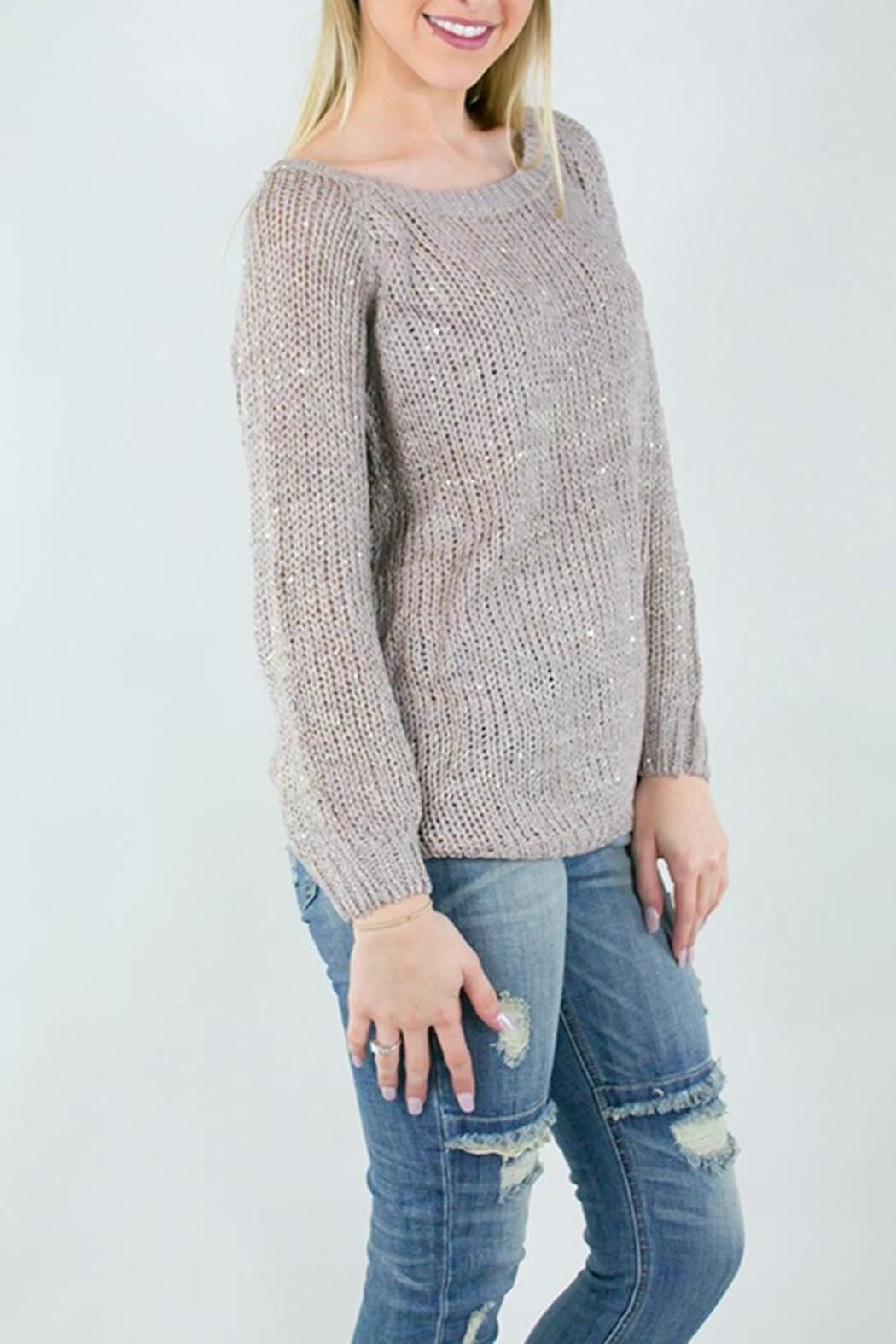 Miracle USA Knit Ribbon Rose Sweater - Front Full Image