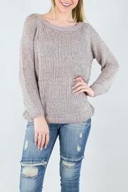 Miracle USA Knit Ribbon Rose Sweater - Front cropped