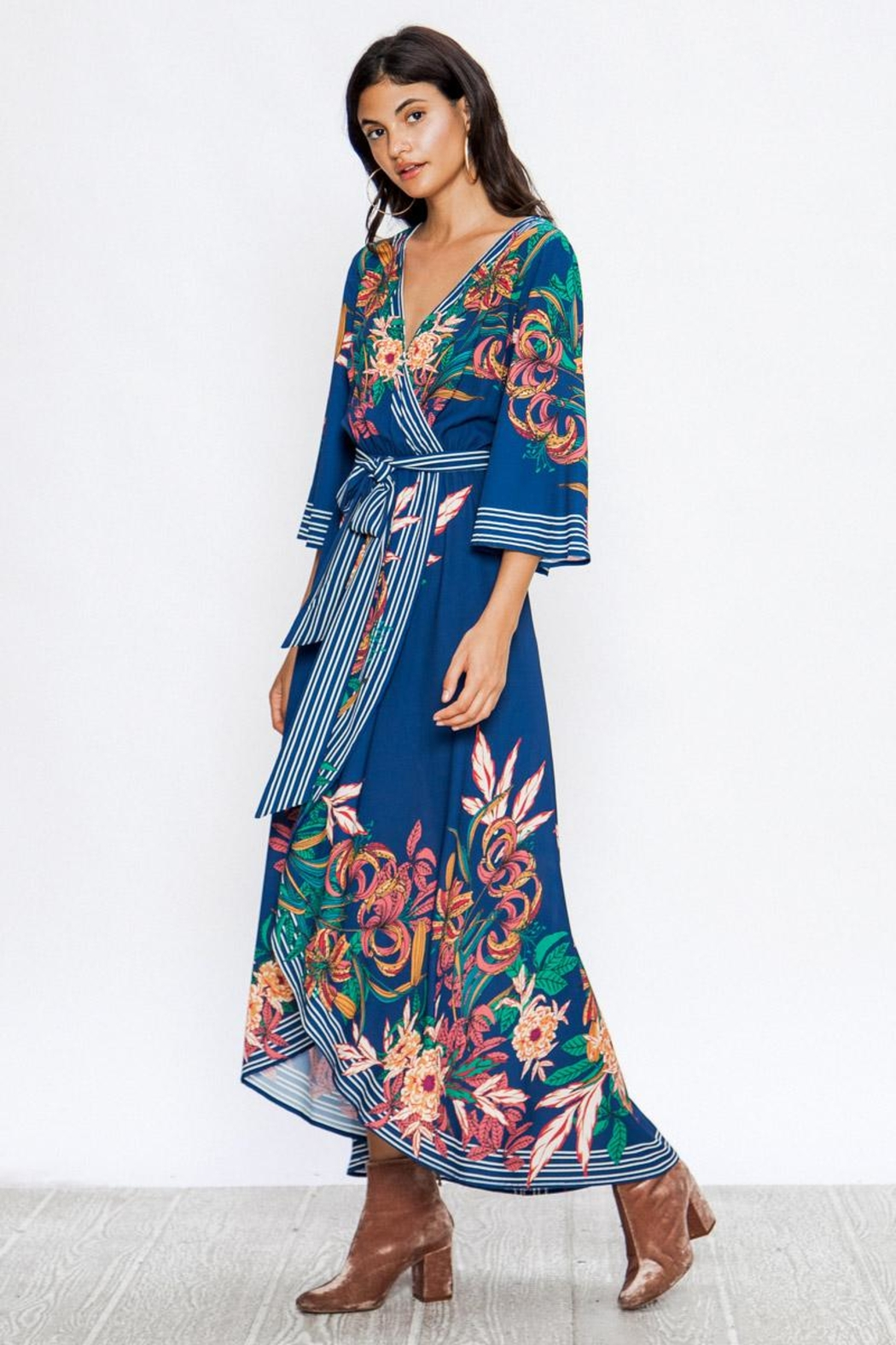 A. Calin Floral Maxi Dress - Side Cropped Image