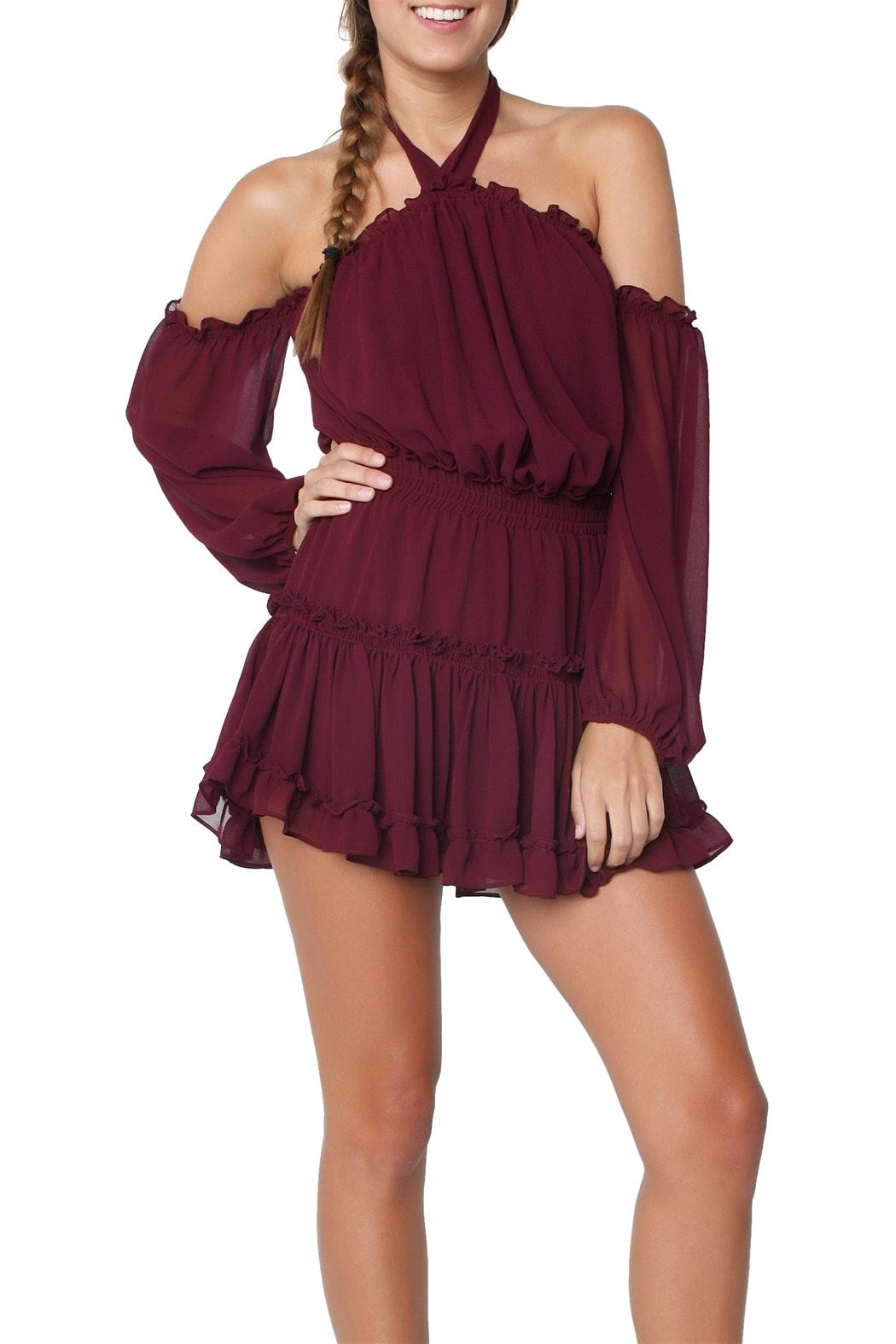 Misa Indi Dress Burgundy - Main Image