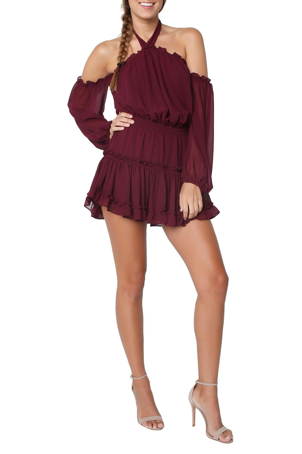 Misa Indi Dress Burgundy - Front Full Image