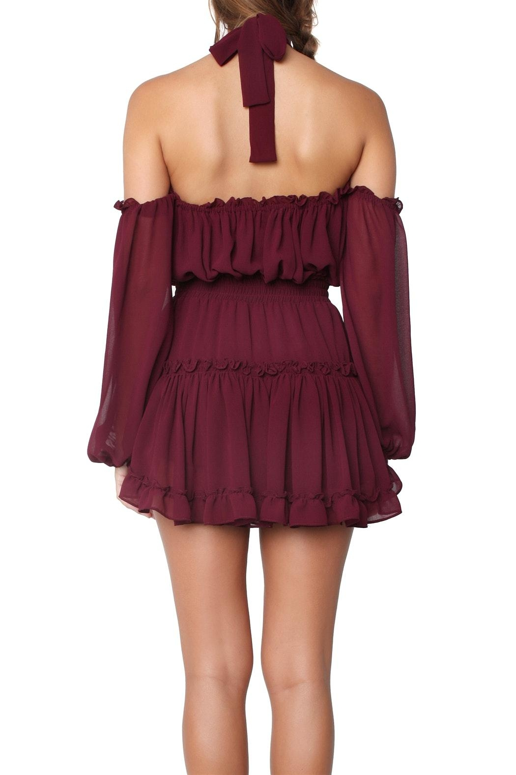 Misa Indi Dress Burgundy - Back Cropped Image