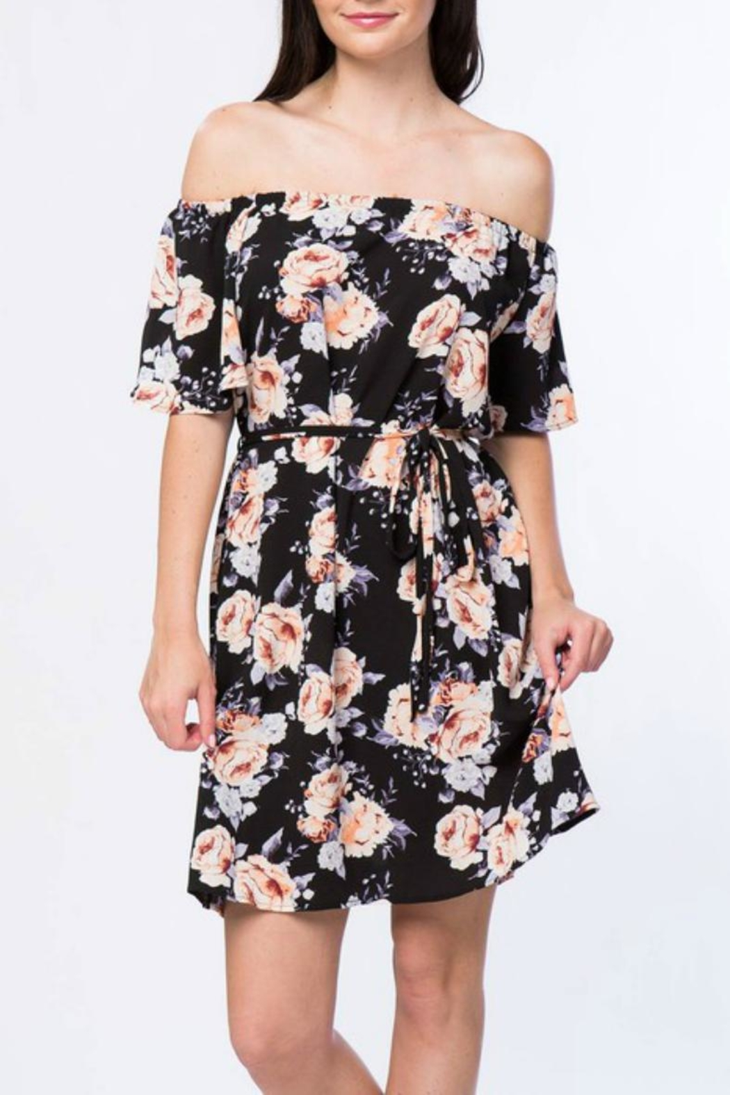 Misia Off Shoulder Tie Dress - Front Cropped Image