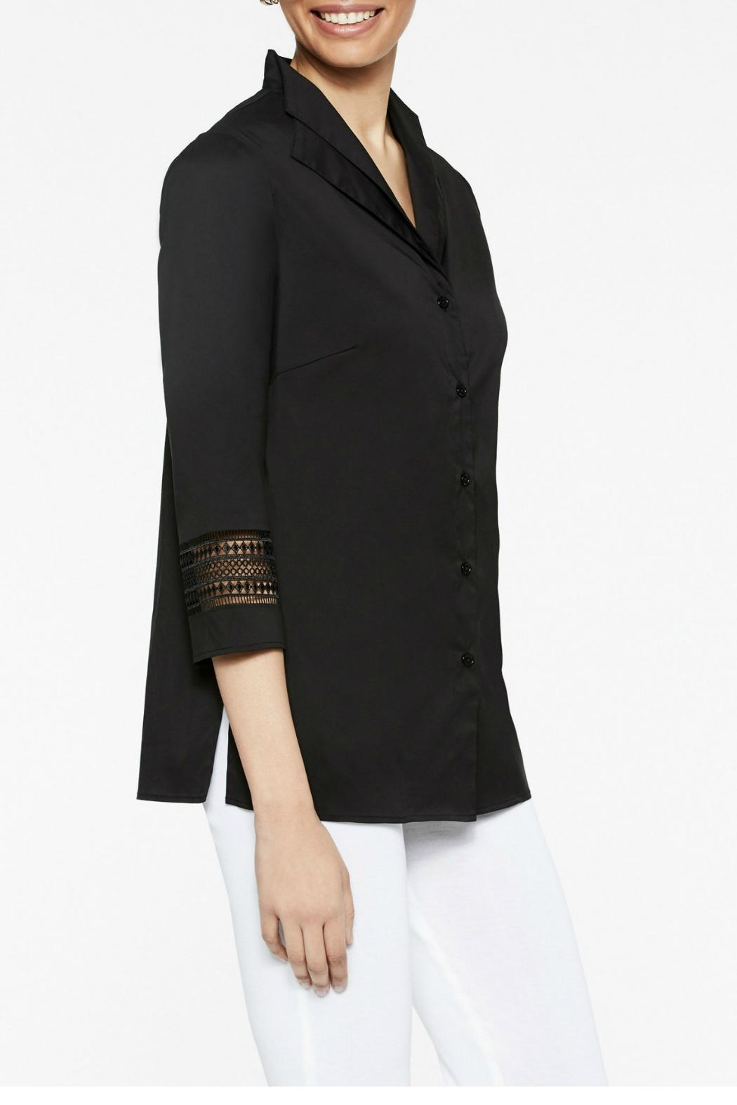 Misook Double Collar Blouse - Front Full Image