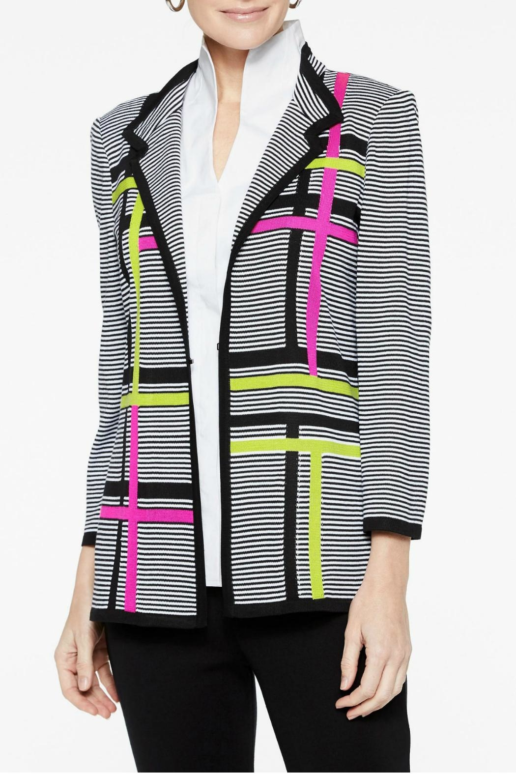 Misook Graphic Stripe Jacket - Main Image