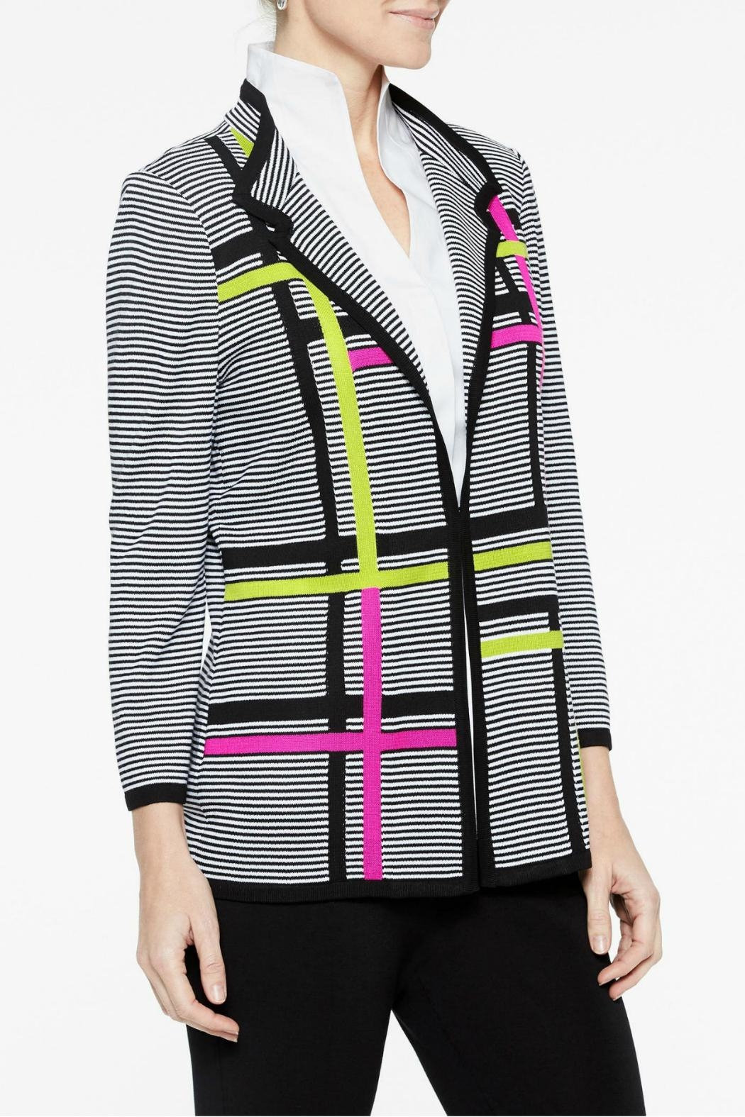Misook Graphic Stripe Jacket - Front Full Image