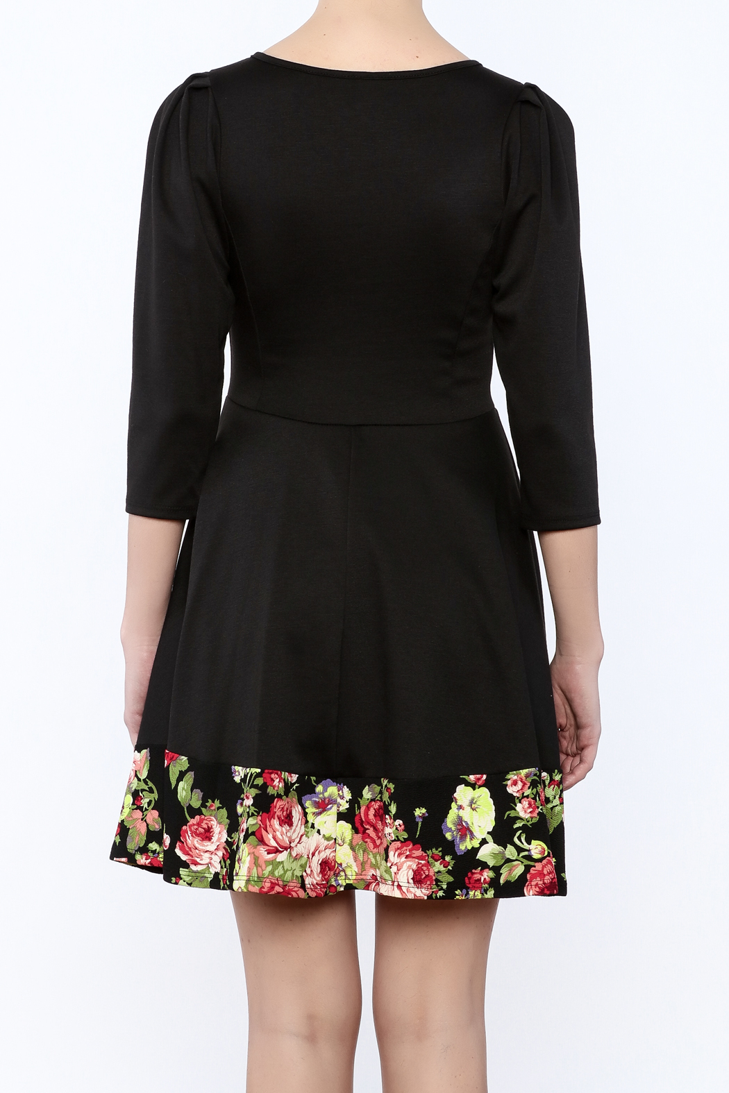 Miss 2 Day Black Floral Dress - Back Cropped Image