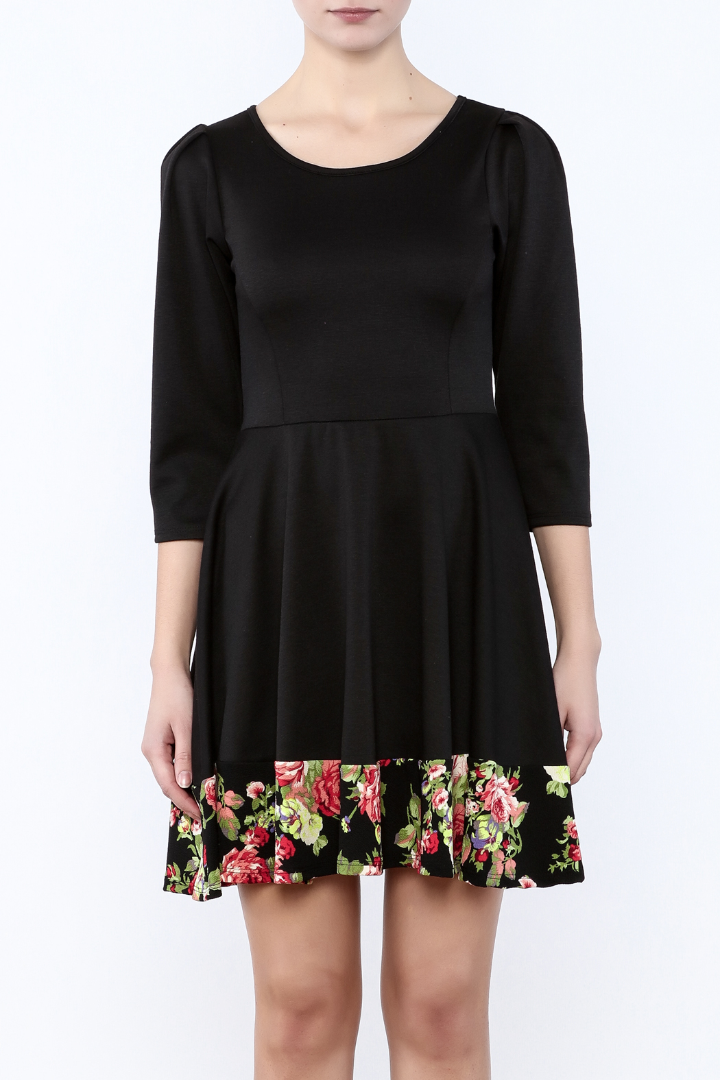 Miss 2 Day Black Floral Dress - Side Cropped Image