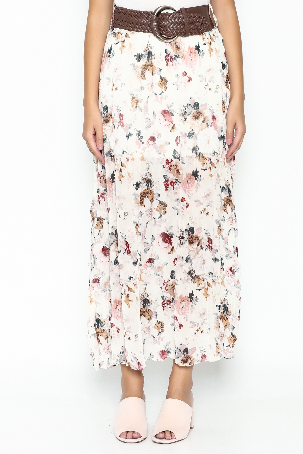miss avenue  Belted Floral Skirt - Front Full Image