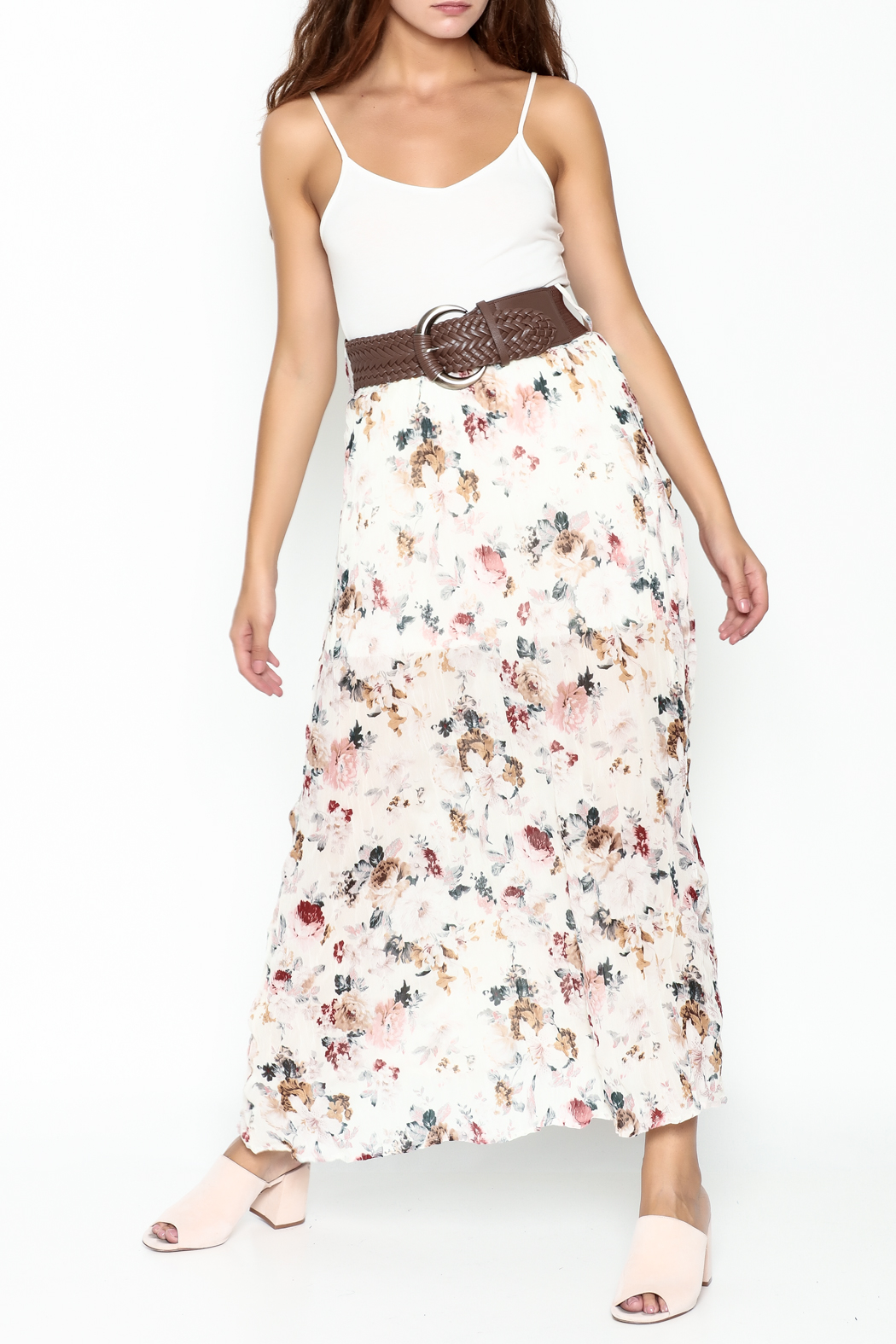 miss avenue  Belted Floral Skirt - Front Cropped Image