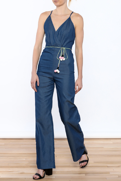 miss avenue  Denim Pompom Jumpsuit - Product List Image