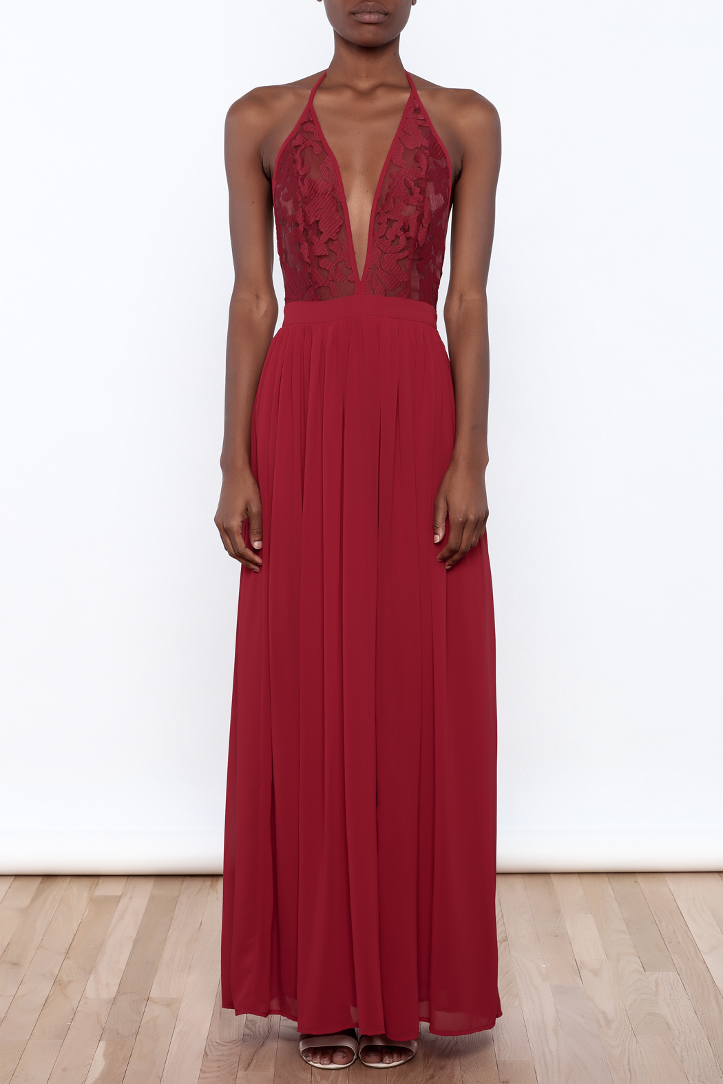 miss avenue  Evening Lace Halter Dress - Front Cropped Image