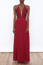 miss avenue  Evening Lace Halter Dress - Front cropped
