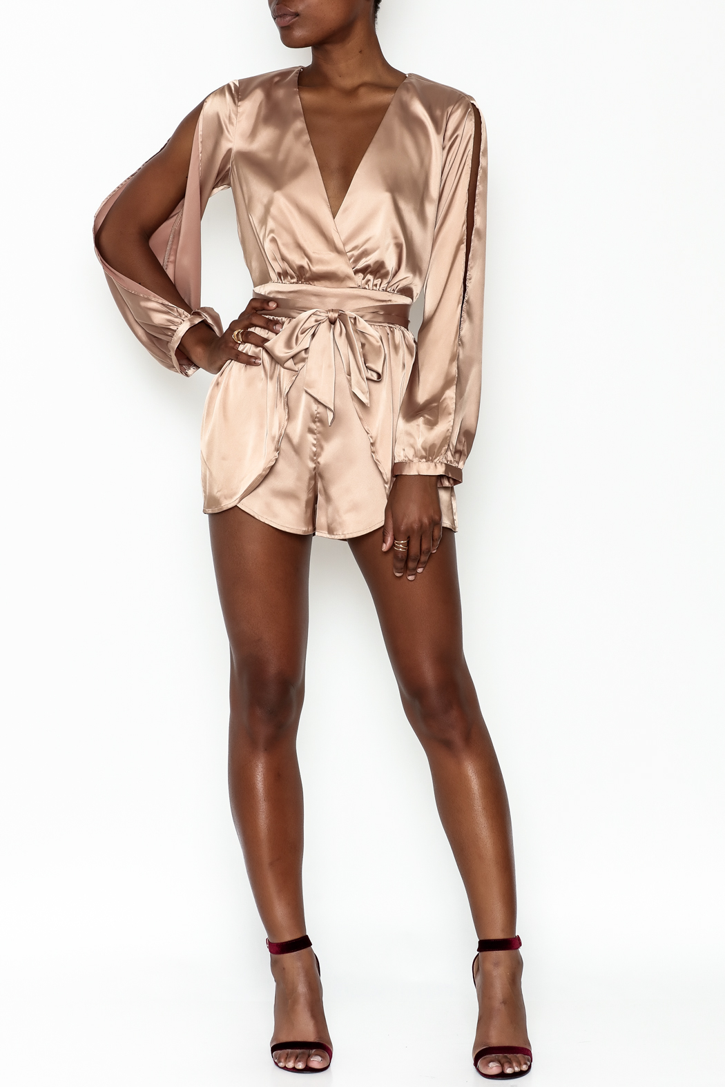 miss avenue  Gold Satin Romper - Side Cropped Image