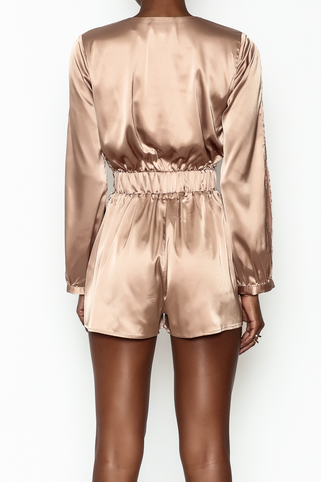 miss avenue  Gold Satin Romper - Back Cropped Image