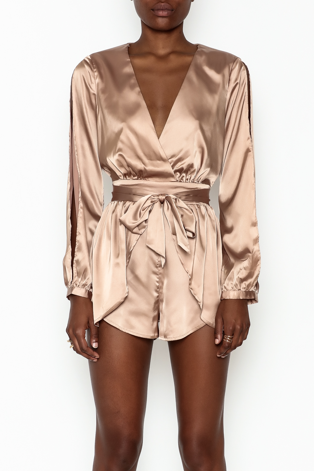 miss avenue  Gold Satin Romper - Front Full Image