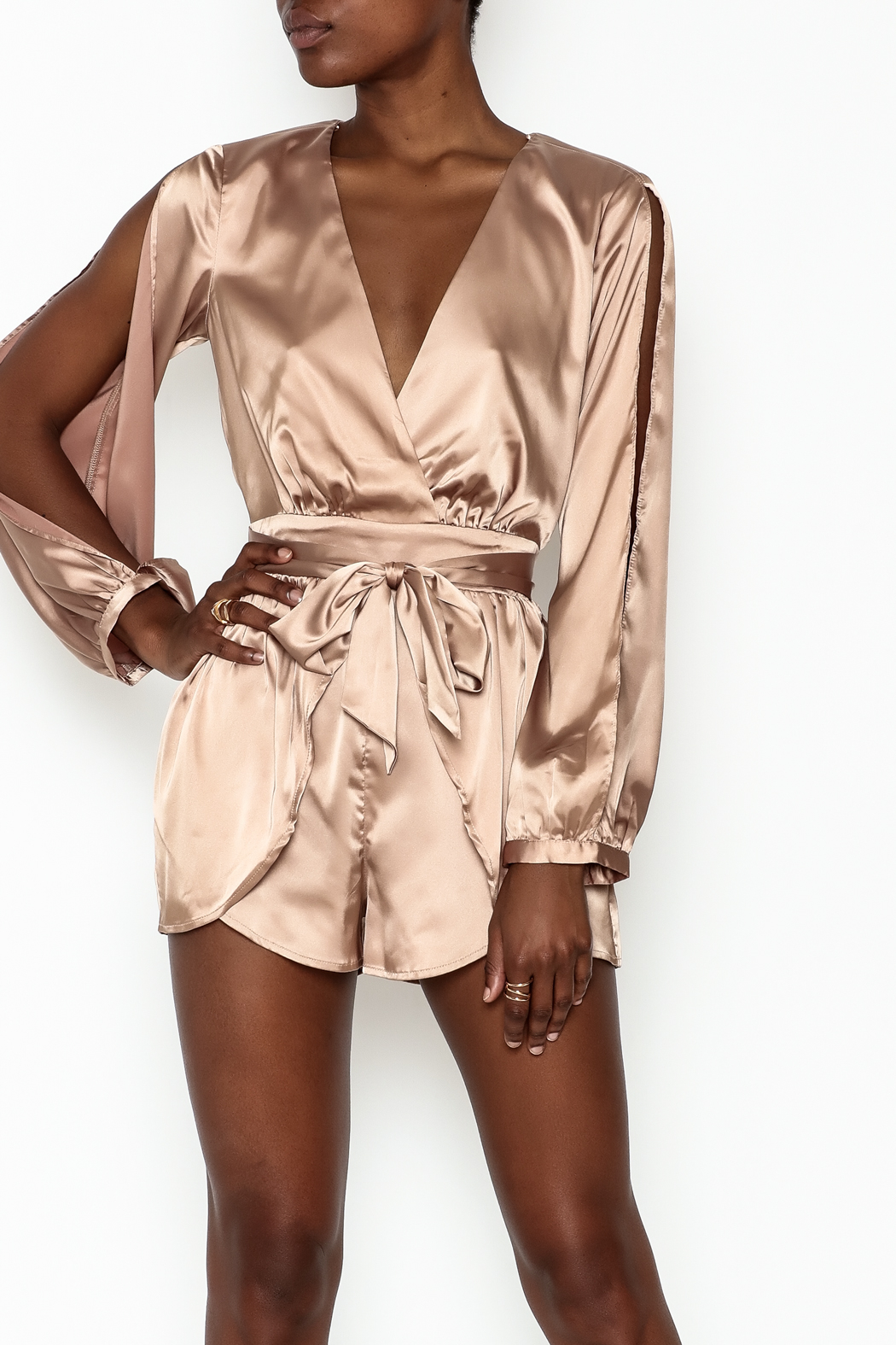 1b396f336bf6 miss avenue Gold Satin Romper from New York by Dor L Dor — Shoptiques