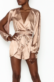 miss avenue  Gold Satin Romper - Front cropped