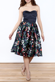 miss avenue  Strapless Floral Midi Dress - Front full body