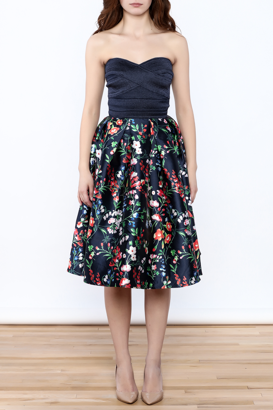 miss avenue  Strapless Floral Midi Dress - Front Cropped Image