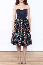 miss avenue  Strapless Floral Midi Dress - Front cropped