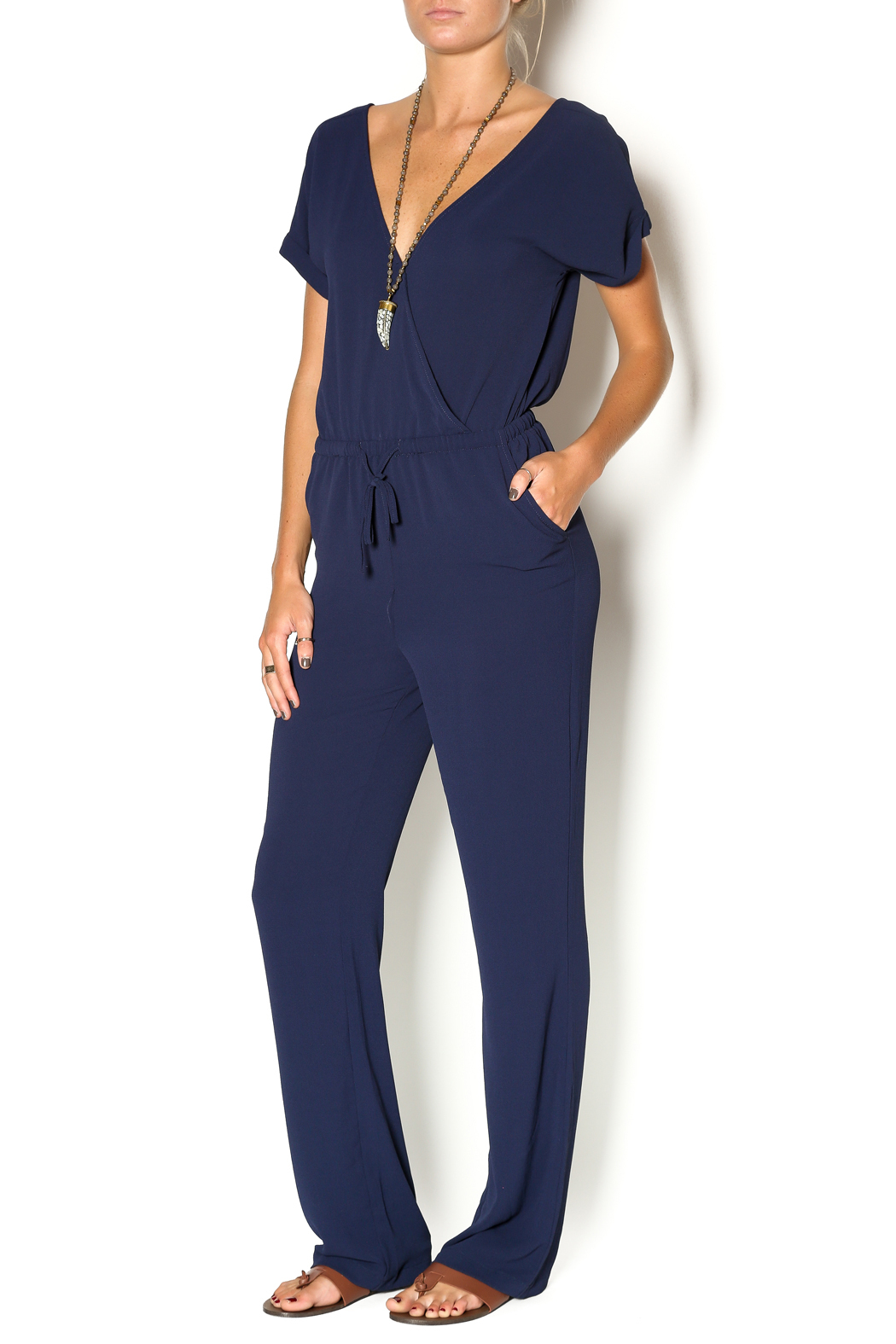 Miss Love Short Sleeve Navy Jumpsuit From California By Ooh La La