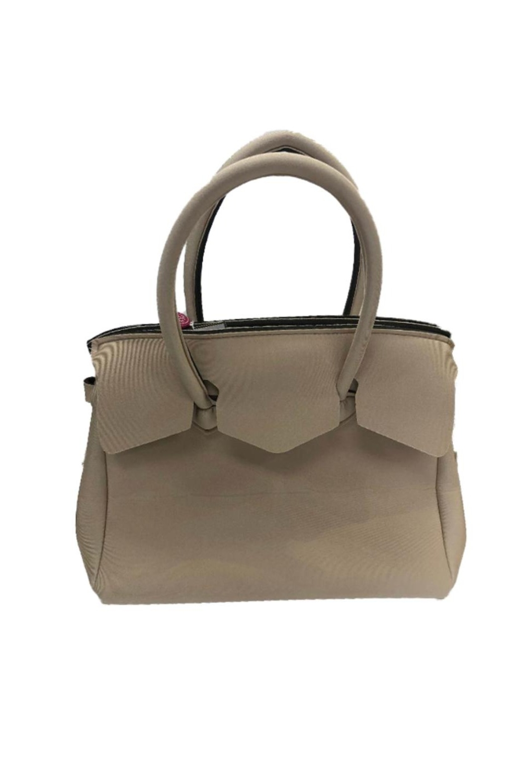 Save My Bag Miss Lycra Metallic Tote With Hand Painted Love Logo - Front Full Image