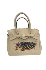 Save My Bag Miss Lycra Metallic Tote With Hand Painted Love Logo - Front cropped