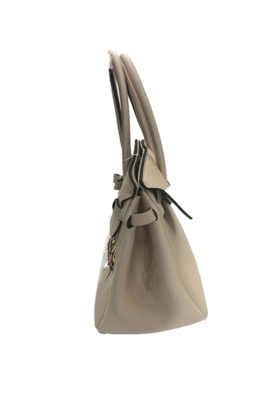 Save My Bag Miss Lycra Metallic Tote With Hand Painted Love Logo - Side Cropped Image