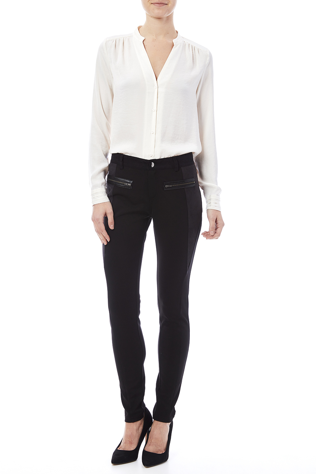 Miss Me Lace Up Detail Skinny Pants - Front Full Image