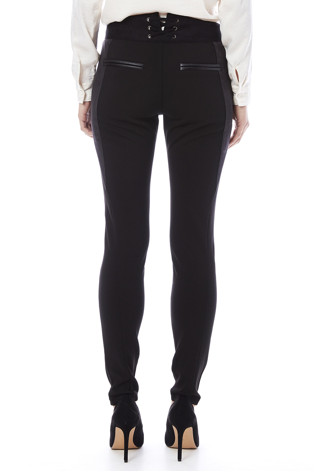Miss Me Lace Up Detail Skinny Pants - Back Cropped Image