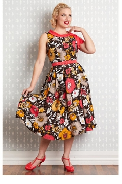 Miss Candyfloss Eliana-Coral Floral Swing-Dress - Product List Image