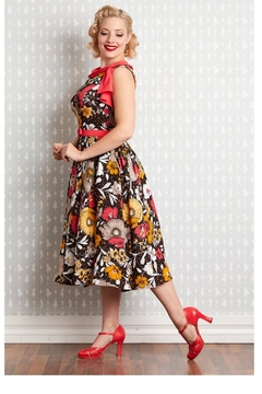 Miss Candyfloss Eliana-Coral Floral Swing-Dress - Alternate List Image