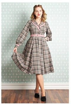 Miss Candyfloss Satine-Silver Tartan Dress - Product List Image