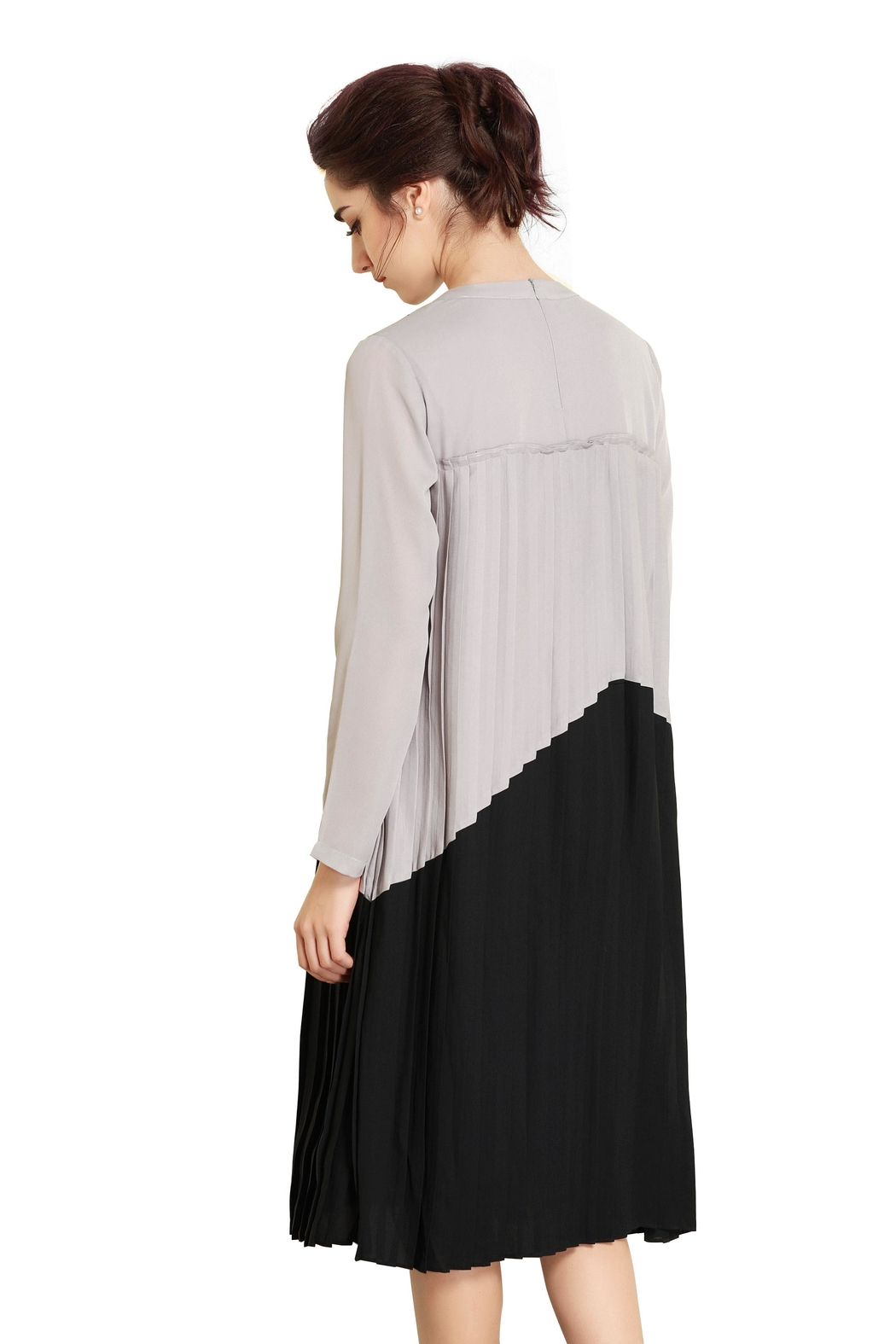 Miss Finch Modest Pleated Dress - Back Cropped Image