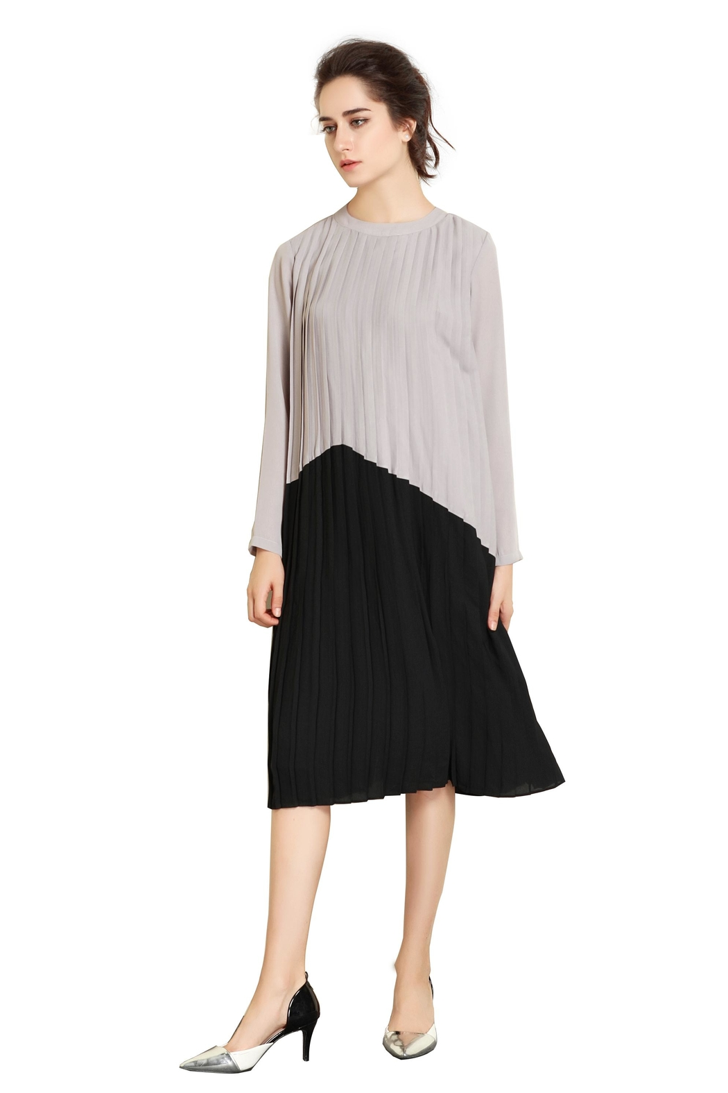 Miss Finch Modest Pleated Dress - Front Full Image